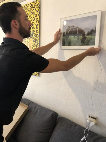 Hanging backlit framed art