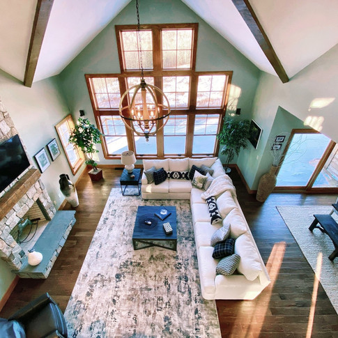 Long Residence Aerial view of livingroom