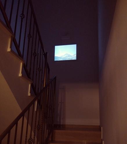 Lightbox hanging up in stairway