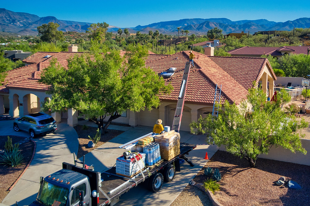 extreme aerial productions drone image of roofing project