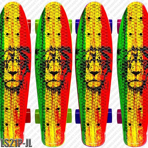"22"" Retro Deck Board w/ Plastic Truck And Pvc Wheels - Jamaican Lion"