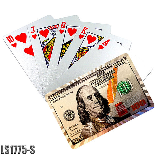 $100 Bill Playing Cards-Silver