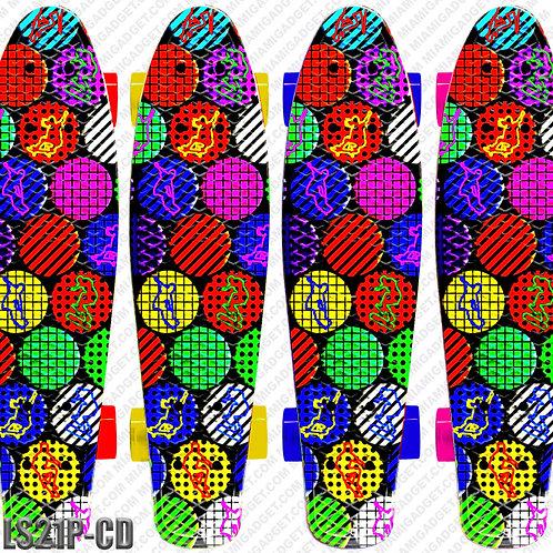 "22"" Retro Deck Board w/ Plastic Truck And Pvc Wheels - Crazy Dots"