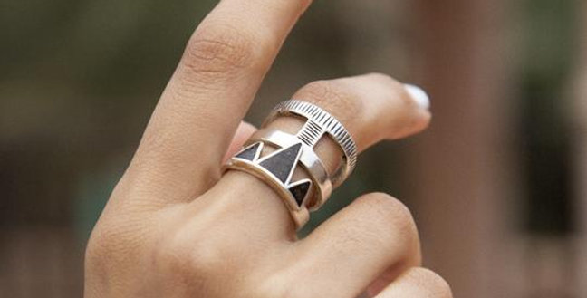 Handmade Silver Triangle Eben Ring