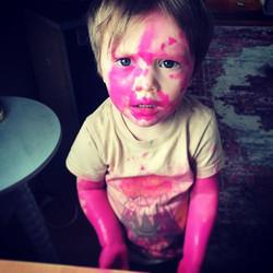 Real men wear pink 💕🔮 🎨#artlife #mama