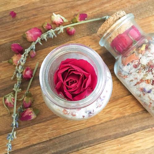 Eucalyptus Bath Salt + Flowers + Amethyst