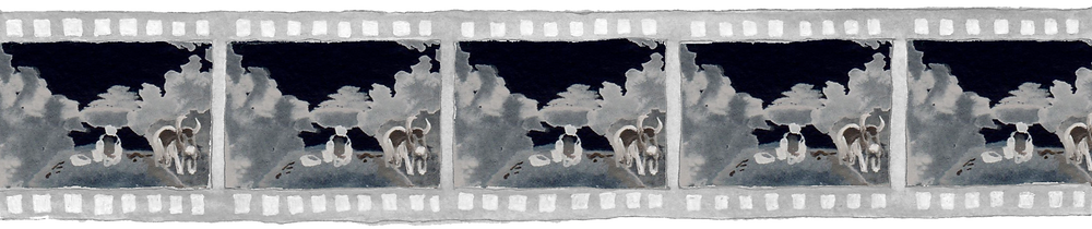 The image is an acrylic painting of a film reel negative. Each frame in the reel shows a country road flanked by trees; in the centre of the road are two buffalo. One lies down, the other stands, facing towards the viewer.