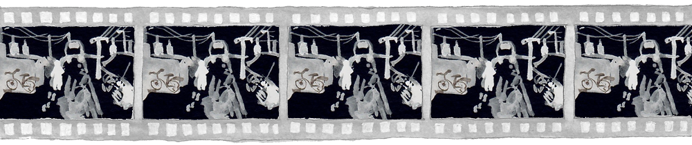 The image is an acrylic painting of a film reel negative. Each frame in the reel depicts a city scene: a desolate road flanked by walls. There is a car in the distance: it's unclear whether the car is driving towards or away from the viewer. A pale figure walks away from the viewer, leaving pale footprints. The dark sky is webbed with the wire of Telegraph poles which stand sentinel over the lonely city.