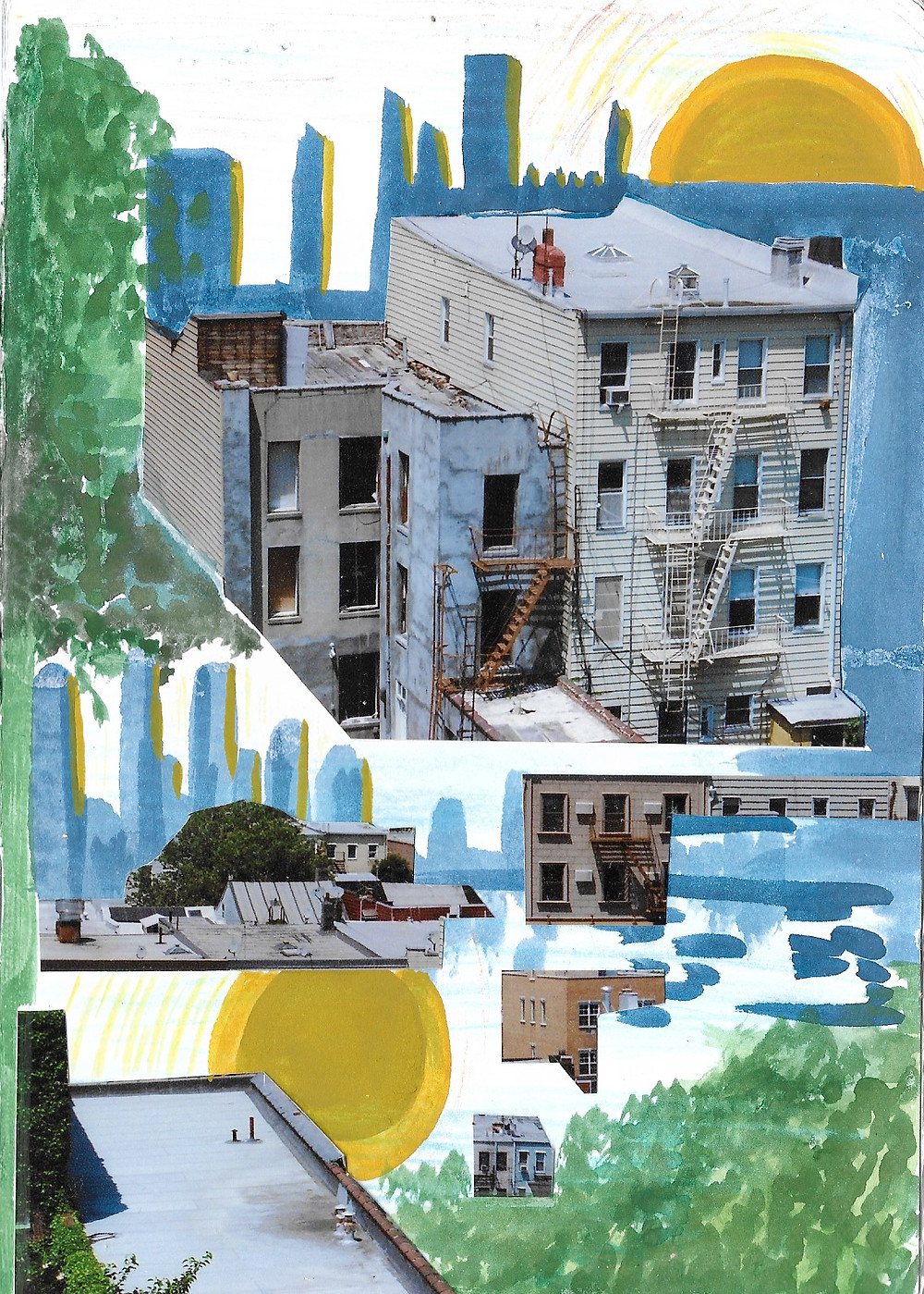 The image is a collage, showing a decaying building rising out of a wide blue stretch of colour. An ochre yellow sun in the top right is mirrored in the bottom left, creating the sense of water, fluidity, reflection. Soft, blotted green shapes stand in for trees.