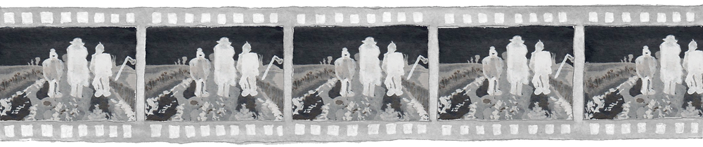 The image is an acrylic painting of a film reel negative. Each frame within the reel shows three ghostly figures standing in the middle of a country road, under an inky dark sky.