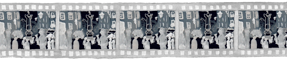 The image is an acrylic painting of a film reel negative. Each frame in the reel depicts the town square of a city, with ghostly seeming figures standing around a darker obelisk.