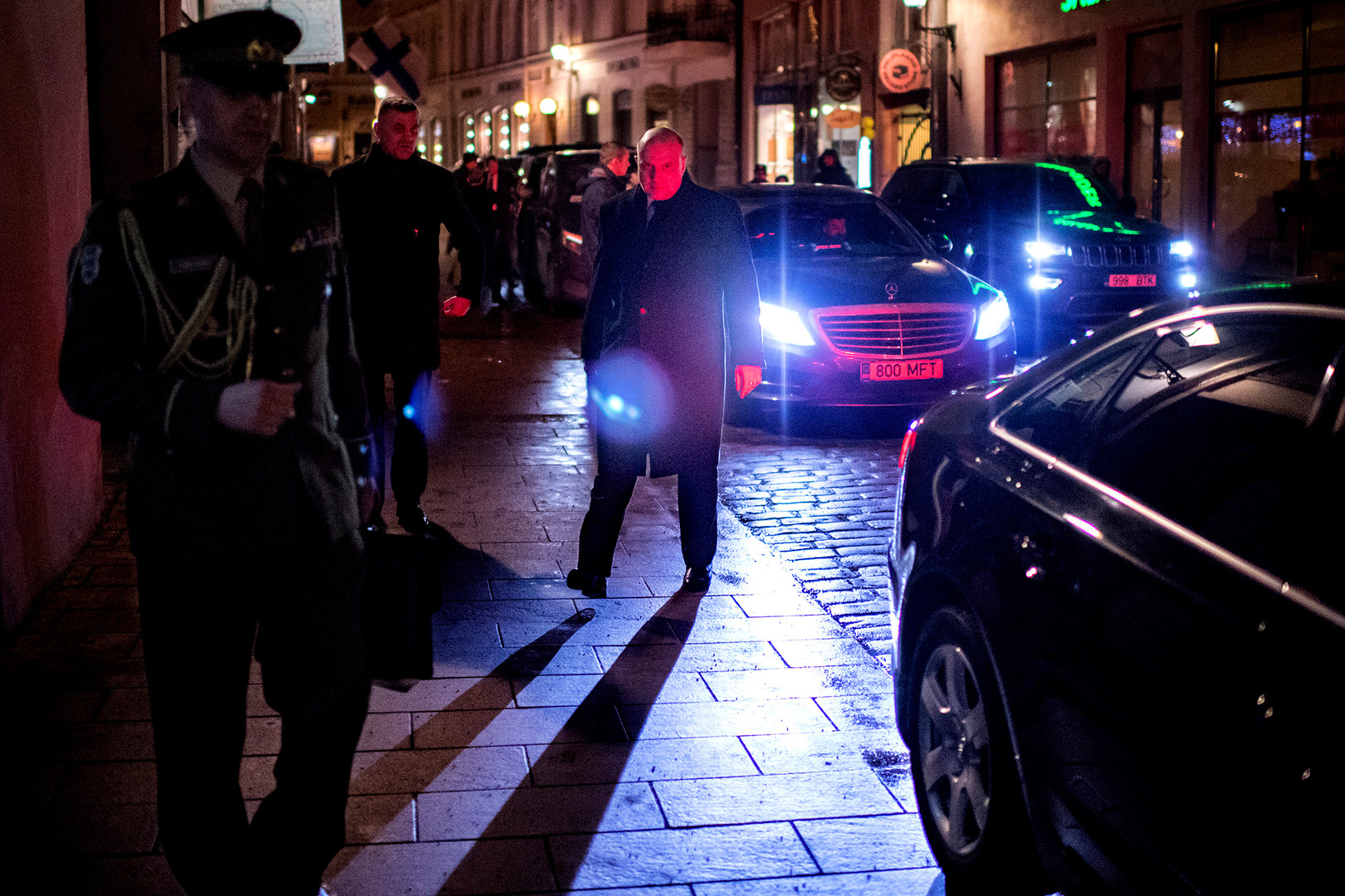 "Estonian Defense Minister Jüri Luik (middle) is seen walking towards his car after having dinner with UK defense minister Gavin Williamson in Tallinn. The following day sixteen EU countries display 30 Russian diplomats as a result of the poisonous attack on Sergei Skripal and his daughter. at a press conference the two minister proclaim ""Now is a time to stand together""."
