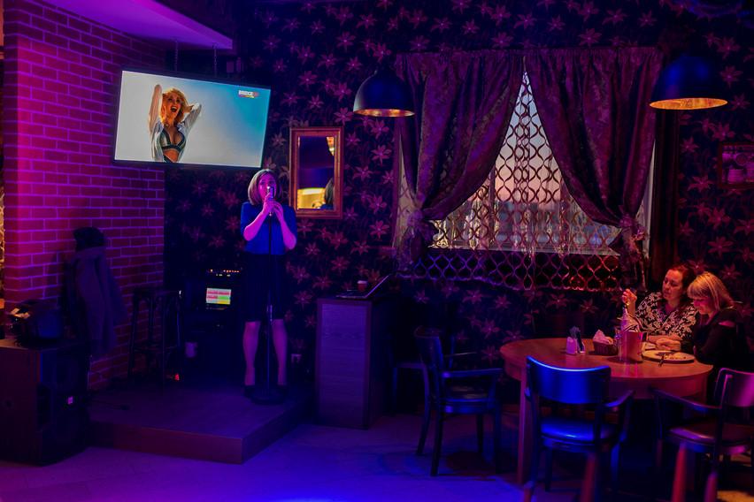 Annee Kalinen, 30, singing at the Pärl restaurant in Narva, Estonia.