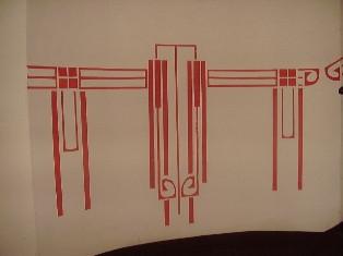 Schabloniertechnik in einem Treppenhaus