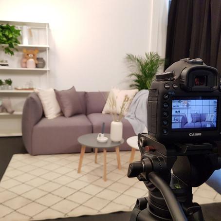 Videodreh mit Scandi Wohnzimmer