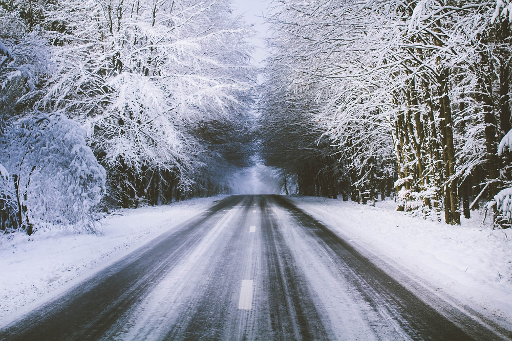 Icy road, stay calm, be mindful