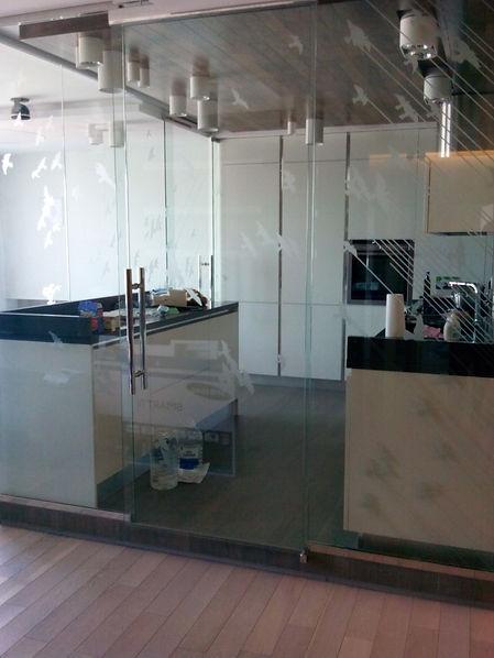 Стеклянная перегородка и распашная дверь для кухни