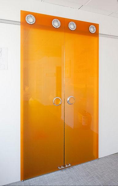 Офисная стеклянная дверь. Стекло Lacobel