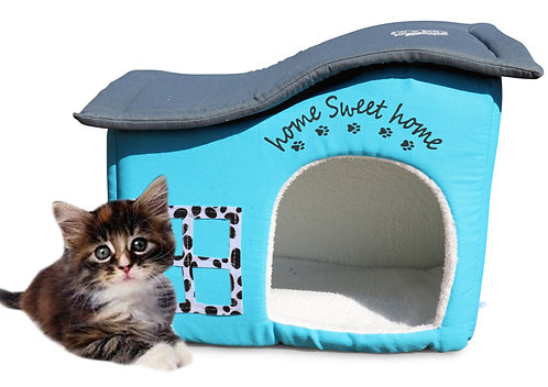 Home Sweet Home Indoor Cat House.  An Extra Sturdy Covered Cat Bed