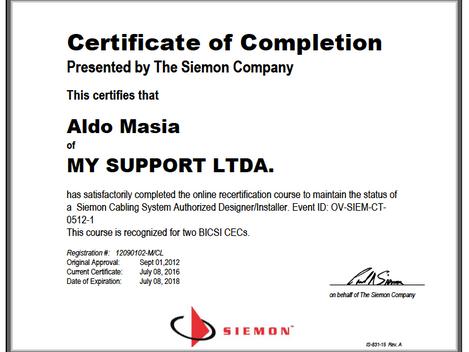 Recertificación CI de Siemon