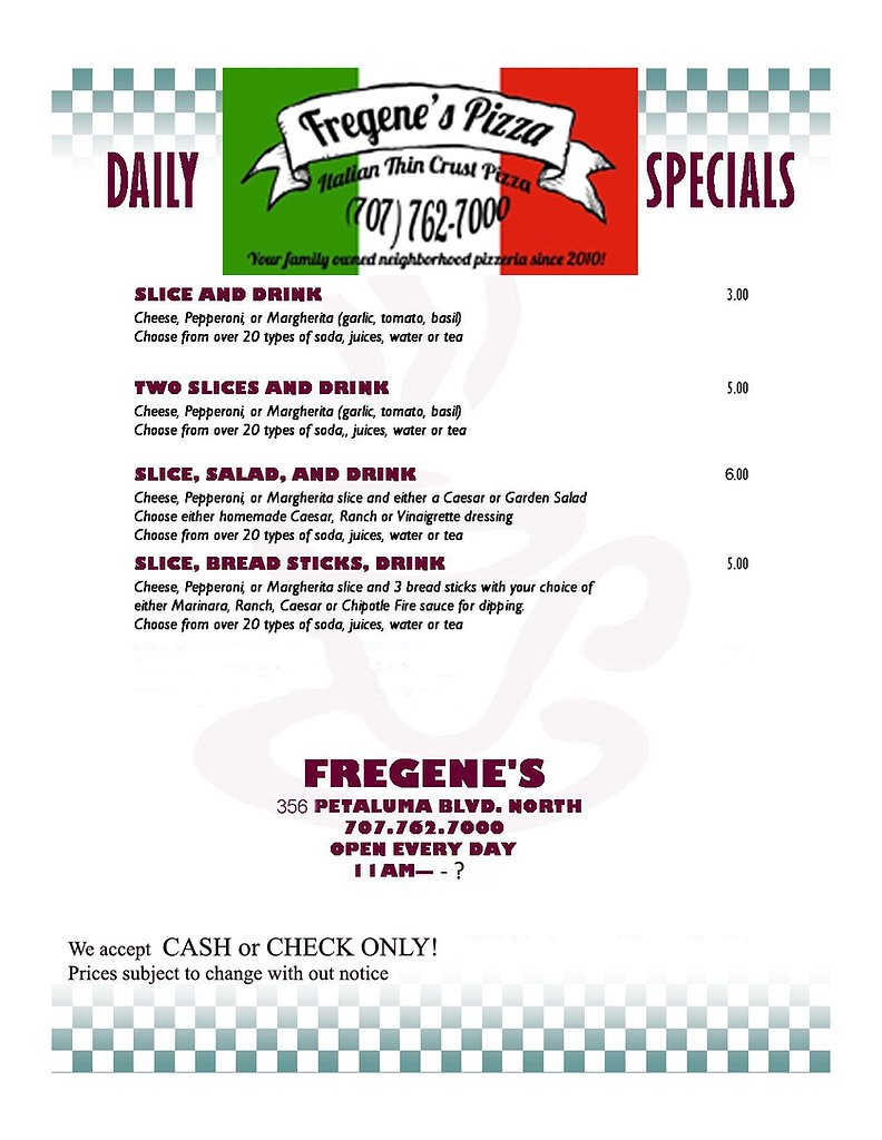Daily specials menue for 356 pet blvd co