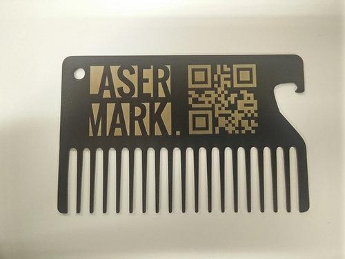 Lasermerkkaus vaasa lasermark lasermarking personalised personalised black stainless steel beard comb business cardgift size 8554 colourmoves
