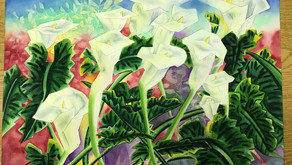 """A Chorus of Lillies, David M.Knittle (spl7dave) 1991. Water color on 18""""x24"""" Arches watercolor paper"""