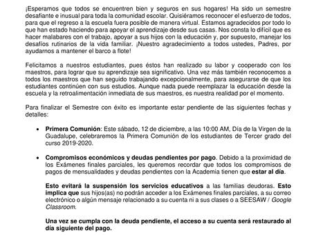 Carta a padres, cierre 1er semestre (2020-2021)