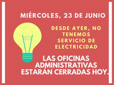 Oficinas adms. estarán cerradas hoy (23 junio)