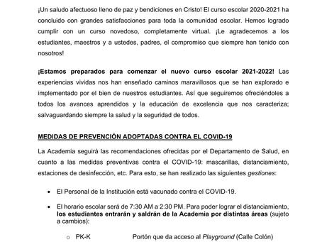 Comunicado sobre curso escolar 2021-2022