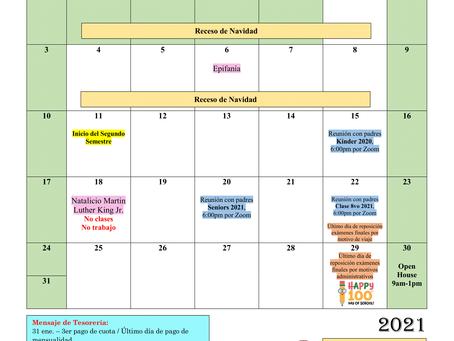 Calendario mes de enero 2021