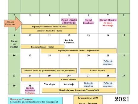 Calendario de mayo 2021 (sujeto a cambios)