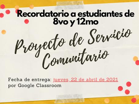Recordatorios (Servicio Comunitario)