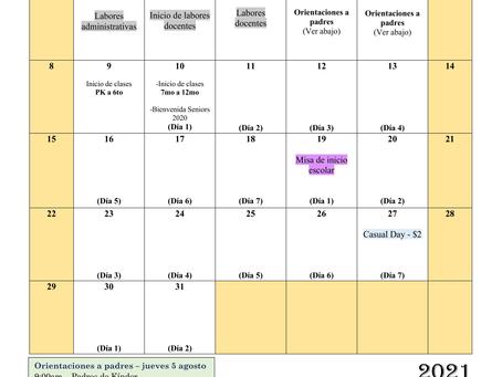 Calendario del mes de agosto 2021