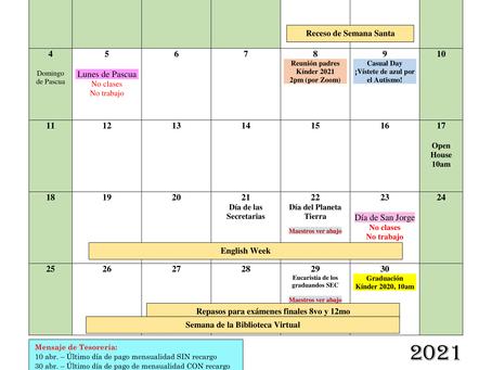 Calendario del mes de abril (sujeto a cambios)