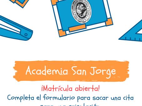 Matrícula abierta (curso escolar 2021-2022)
