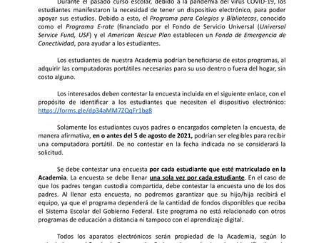 Carta a los padres -Fondo de Emergencia de Conectividad (E-Rate)