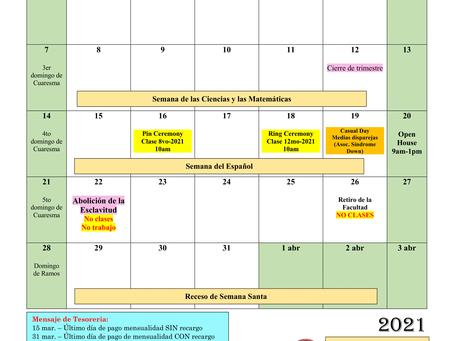 Calendario del mes de marzo 2021 (sujeto a cambios)