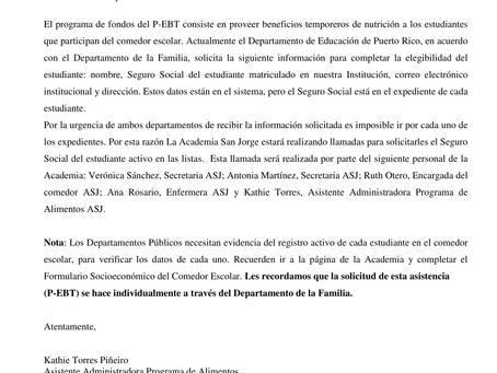 Carta sobre procedimientos relacionados a fondos P-EBT