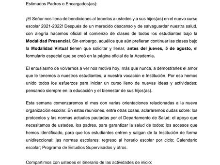 Comunicado inicio escolar (2 agosto 2021)