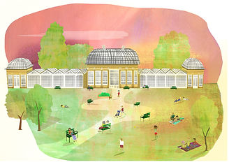 A colourful illustration of Sheffield Botanical Gardens with the glasshouse and trees and pink sky.