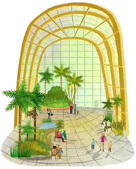An illustration of Sheffield Wnter Gardens with plants, trees and people.