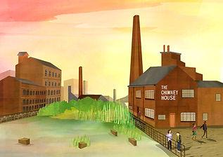 An illustration The Chimney House in Kelham Island in Sheffield.