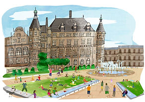 An illustration of Sheffields peace garden in the city centre on a summers day