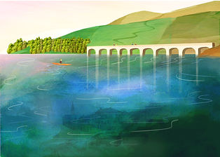 An illustration of Derwent Valley in Derbyshire. A popular walking, cycling and canoeing destination