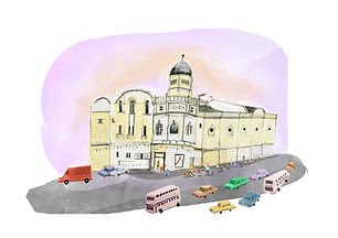 An illustration of Abbeydale Picture House in Sheffield,also known as Picture House Social.