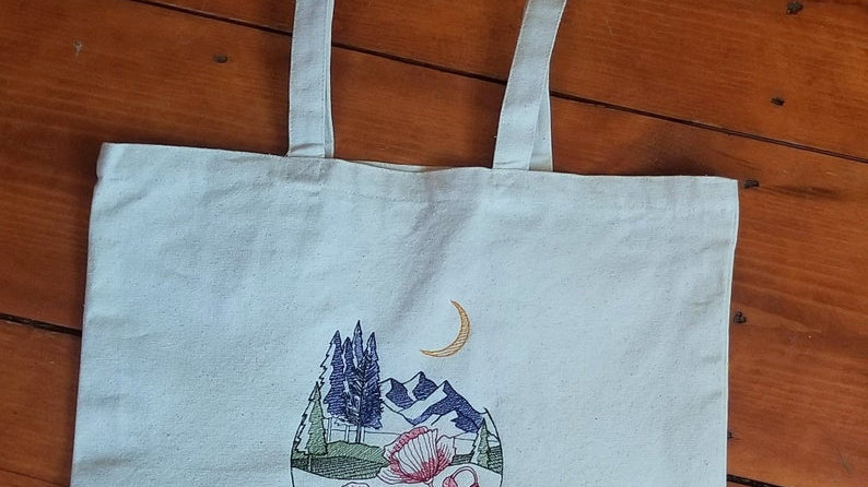 Mountain Poppy Canvas Tote Bag Large Tote Bag with Gusset Bottom