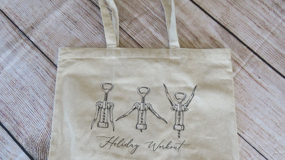 Cork Screw Workout Wine Gift Tote Bag Large Tote Bag with Gusset Bottom