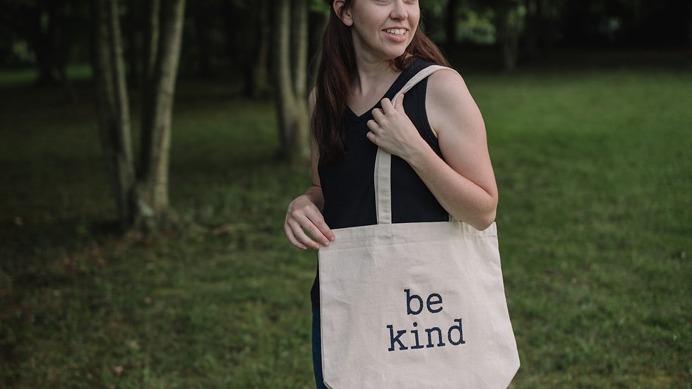 Be Kind Canvas Tote Bag Large Tote Bag with Gusset Bottom