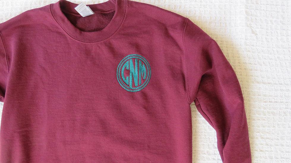Personalized Monogrammed Sweatshirt Initial Sweatshirt Embroidered Shirt